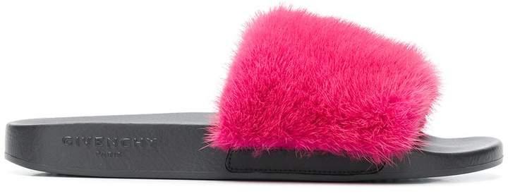 Givenchy classic fur-trim slides