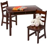 Lipper Child's Rectangular Table With Shelves And Two Chairs - Espresso