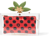 Charlotte Olympia Lucky Pandora Embellished Perspex Clutch - Red