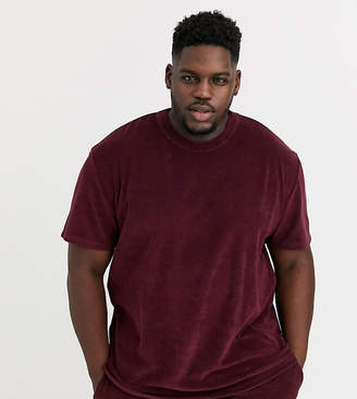 Asos Design DESIGN Plus two-piece relaxed t-shirt in towelling in burgundy-Red