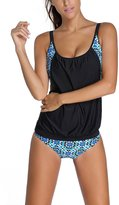 Dokotoo Womens Racerback Patterned Top Boy Shorts Bottom Tankini Set Large Black