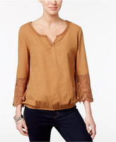 Style&Co. Style & Co Flutter-Sleeve Crochet-Trim Top, Only at Macy's