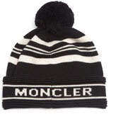 Moncler Striped wool pompom beanie hat