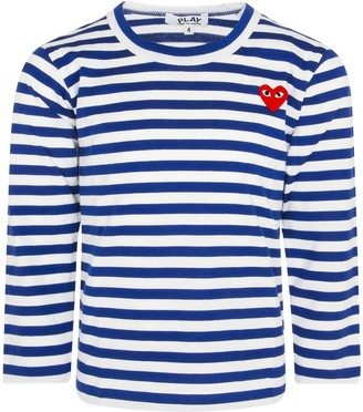 Comme des Garcons White And Electric Blue Striped T-shirt For Boy With Heart