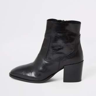 River Island Womens Black leather block heel wide fit boots