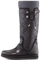 Moncler Vendome Leather Boot, Black/Gray