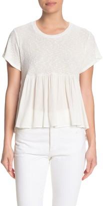 White Willow Rib Knit Peplum Shirt