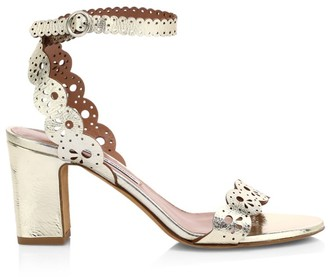 Tabitha Simmons Bobbin Laser Cut Metallic Leather Sandals
