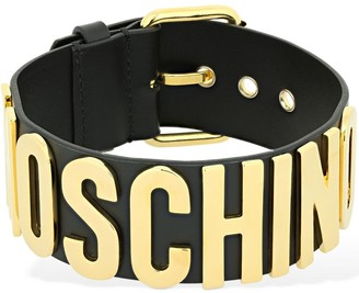Moschino Logo Lettering Leather Belt Choker
