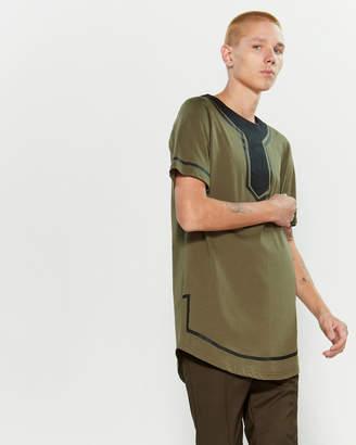 Numero 00 Green & Black Printed Yoke Short Sleeve Tee