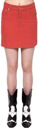 Ganni Cotton Denim Short Skirt