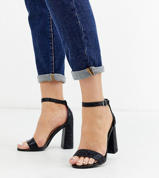 Miss Selfridge Wide Fit heeled sandals in black snake