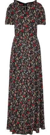 Mikael Aghal Floral-print Metallic Georgette Maxi Dress