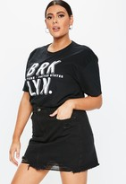 Missguided Plus Size Black Denim Mini Skirt