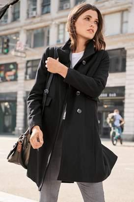 Next Womens Black Funnel Neck Coat - Black