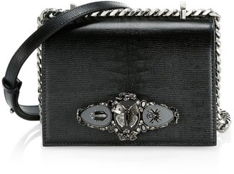 Alexander McQueen Small Butterfly Jewelled Leather Satchel