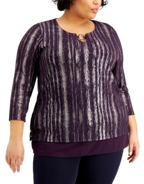 JM Collection Plus Size Foiled Ribbed Tunic Top, Created for Macy's