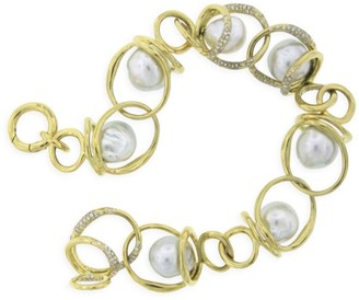Ippolita Nova 18K Yellow Gold, 10-11MM Baroque Pearl & Diamond Chain-Link Bracelet