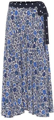Velvet Olive floral midi skirt