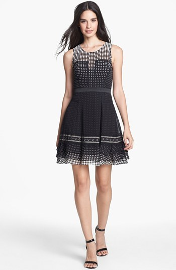 Betsey Johnson Dot Ruffled Fit & Flare Dress
