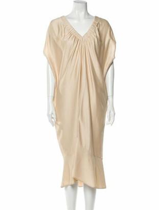 Zero Maria Cornejo V-Neck Midi Length Dress w/ Tags Gold
