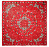 Alexander McQueen Frayed Printed Silk And Modal-blend Scarf - Red