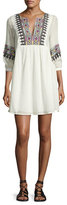 BA&SH Magda Embroidered Metallic Gauze Minidress, Ecru