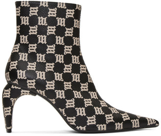 Misbhv Black and Beige Monogram Slicer Ankle Boots