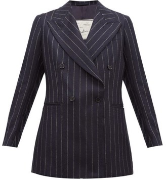 Giuliva Heritage Collection The Stella Pinstriped Wool Double-breasted Blazer - Womens - Navy Stripe