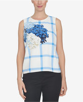CeCe Plaid Floral-Print Shell