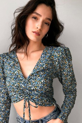 Nasty Gal Womens So Darling Floral Ruched Blouse - Blue - 4