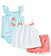 Starting Out Baby Girls Newborn-9 Months Seahorse-Print Top, Striped Bodysuit, & Solid Shorts 3-Piece Set