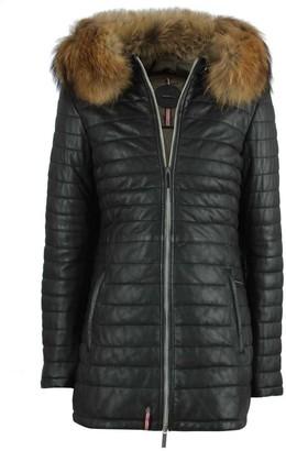 Oakwood Black Leather Fur Trim Long Line Jacket