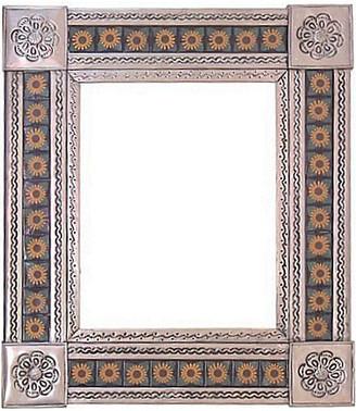 Fine Crafts & Imports Medium Silver 4-Leaves Sunflower Tile Talavera Tin Mirror