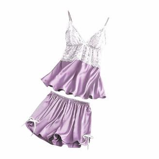 Loveletters  Loveletters Women Sexy Lace Satin Pajamas Set Trousers Shorts Nightdress Robe Pajama Lingerie Negligee Set Nightwear Summer Satin Pjs 2/4/5pcs Purple