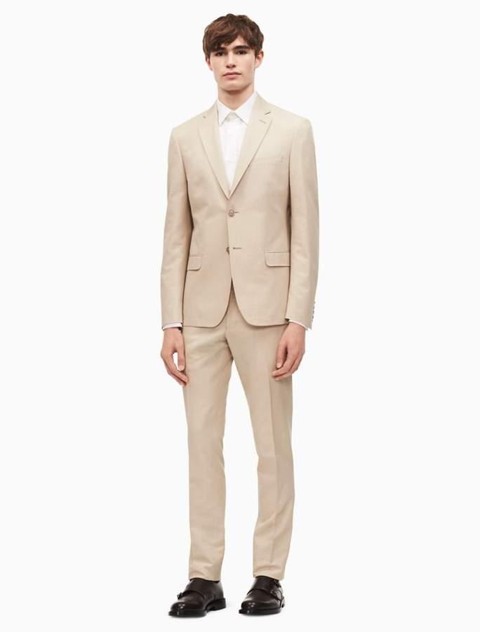 Calvin Klein x-fit solid slim fit cotton linen suit