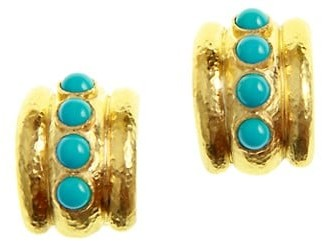 Elizabeth Locke Stone 19K Yellow Gold & Sleeping Beauty Turquoise Amalfi Earrings