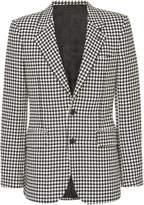 Alexander Mcqueen Single-Breasted Houndstooth Wool Blazer