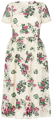 RED Valentino Floral Embroidered Macrame Dress