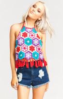 MUMU Dylan Crop Top ~ Fleetwood Flower Crochet Red