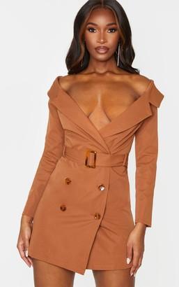 Bardot Loccoapp Chocolate Brown Tortoise Button Belted Blazer Dress