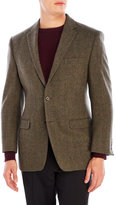 Lauren Ralph Lauren Olive Windowpane Wool Sport Coat