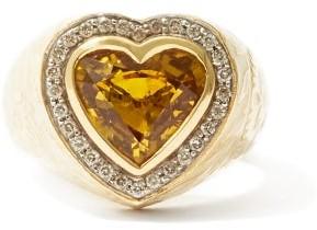 Jade Jagger Diamond, Yellow Sapphire & 18kt Gold Signet Ring - Yellow Gold