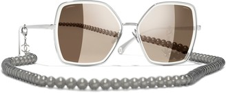 Chanel Pilot Sunglasses CH4262 Silver/Mirror Brown