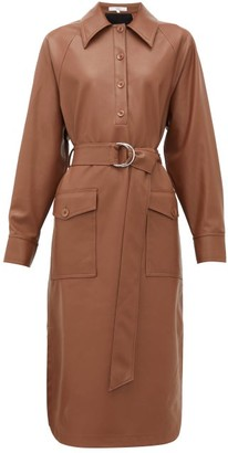 Tibi Belted Faux Leather Shirt Dress - Brown