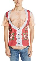 Faux Real Men's Hairy Belly Poinsettia Ugly Christmas Sweater Printed T-Shirt
