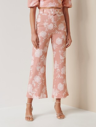 Forever New Amara Linen-Blend Pant - Coral Linear Spray - 10