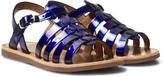 Pom D'Api Blue Shiny Plagette Strap Sandals