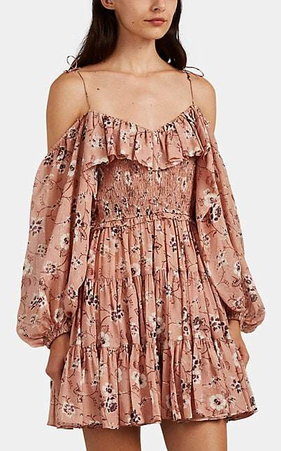 Ulla Johnson Women's Monet Floral Silk Cold-Shoulder Dress - Brown