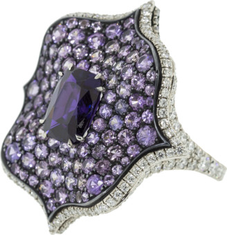 Bayco Purple Sapphire and Diamond Lotus Ring